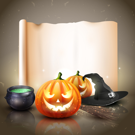 Modern Halloween background with pumpkins, pot and broom in front of old empty paper Vector