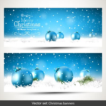 adornos navidad: Vector conjunto de dos banners de Navidad con bolas de color azul en la nieve Vectores