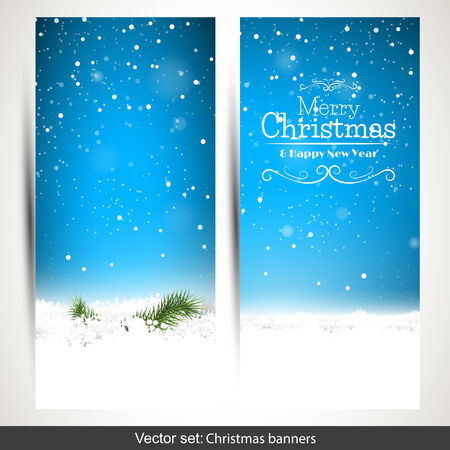 Set of two vertical Christmas banners with snow and place for text Vector