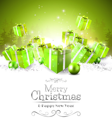 decor: Green gift boxes in the snow - Christmas background Illustration