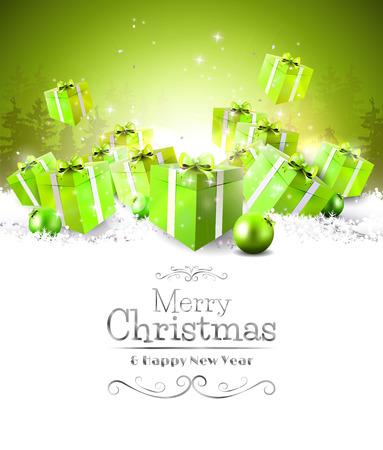 christmas star: Scatole regalo verde nella neve - sfondo Natale Vettoriali