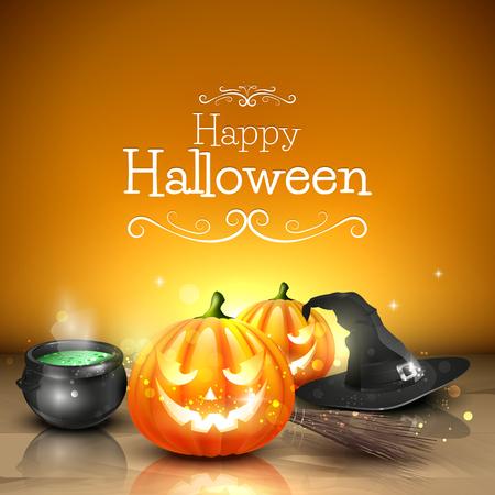 Tarjeta de felicitación de Halloween moderno con calabazas, olla y escoba delante de fondo naranja