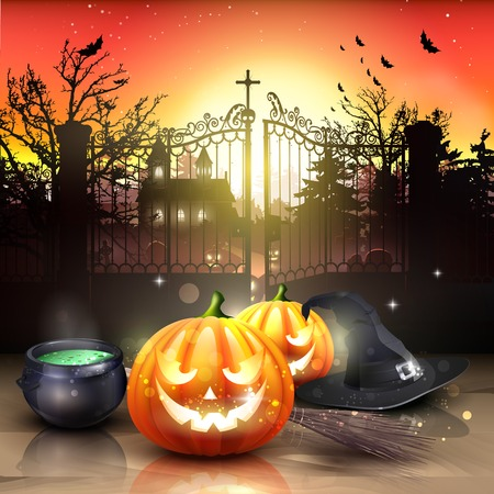 frighten: Modern Halloween greeting card with pumpkins, pot and broom in front of the old graveyard