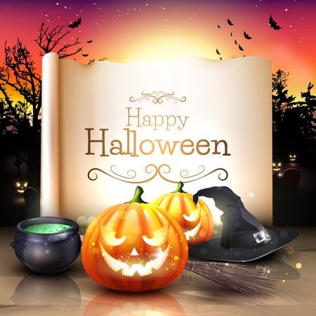Modern Halloween greeting card with pumpkins, pot and broom in front of the old paper Vector