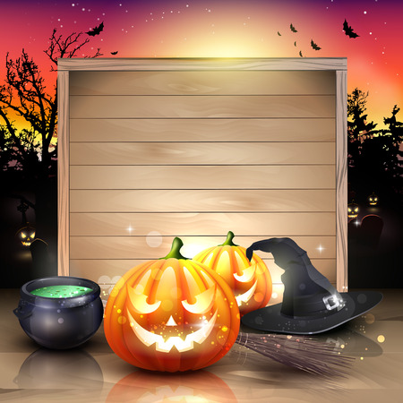 Modern Halloween greeting card with pumpkins, pot and broom in front of the wooden sign Vector