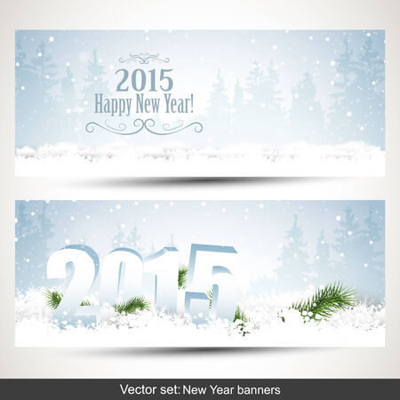 Vector set of two New Year banners Vector