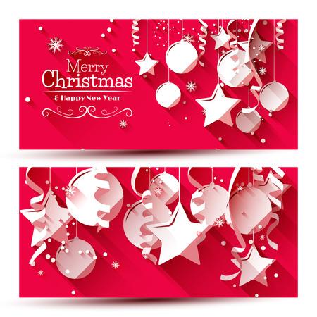 navidad: Vector conjunto de dos banners de Navidad con adornos de papel sobre fondo rojo
