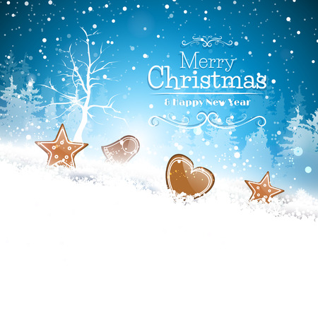 雪とあなたのテキストのための場所で gingerbreads と青いクリスマスのグリーティング カード