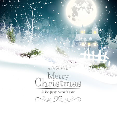 Christmas greeting card with church and a full moon in a snowy landscape Vector