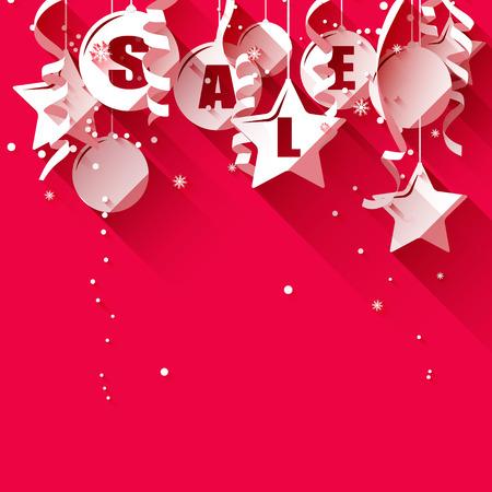 Vánoční prodej - papírové ozdoby na červeném pozadí - plochý design ve stylu Ilustrace