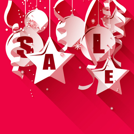 Christmas sale - paper decorations on red background - flat design style