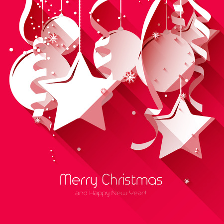 Modern Christmas greeting card with paper decorations on red background - flat design style