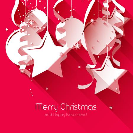 Moderne kerst wenskaart met papier decoraties op rode achtergrond - plat design stijl Stock Illustratie