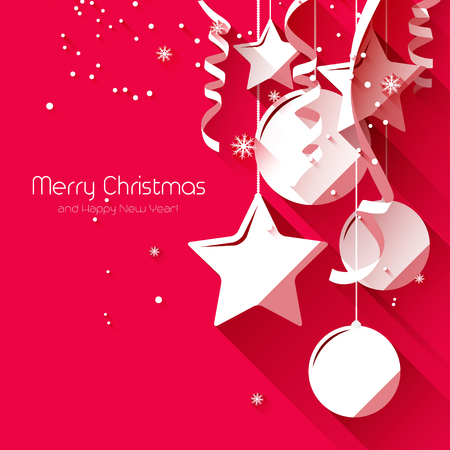 Modern Christmas greeting card with paper decorations on red background - flat design style Vector