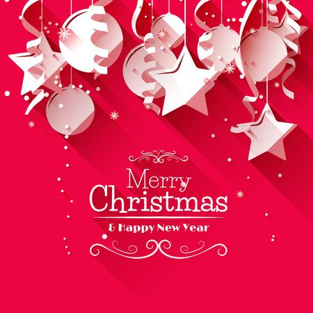 background: Tarjeta de felicitación de Navidad moderna con decoraciones de papel sobre fondo rojo - estilo de diseño plano