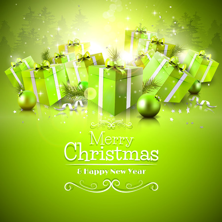 Luxury Christmas greeting card with green gift boxes and calligraphic lettering Stock Illustratie