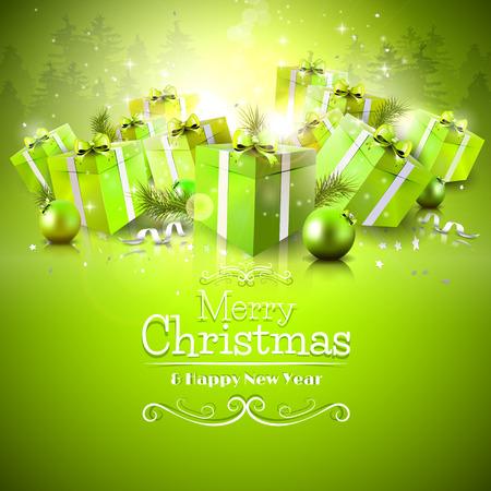 cajas navide�as: Tarjeta de felicitaci�n de Navidad de lujo con cajas de regalo verde y las letras caligr�ficas