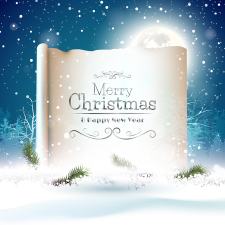 Christmas greeting card with old paper in the snow