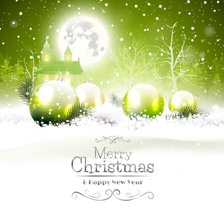 Christmas greeting card with green baubles in the snow and church on the background Vector