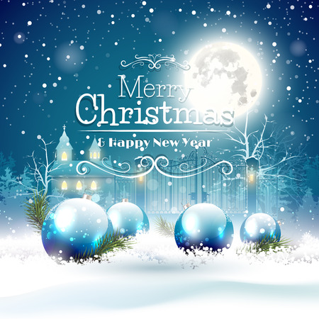 background blue: Christmas greeting card with blue baubles in the snow and church on the background Illustration