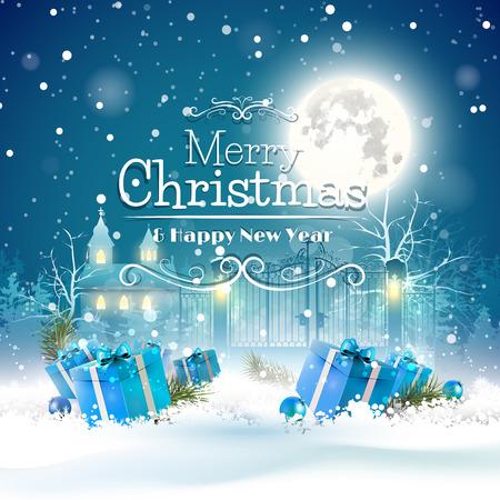 Kerst wenskaart met blauwe geschenk dozen in de sneeuw en de kerk op de achtergrond