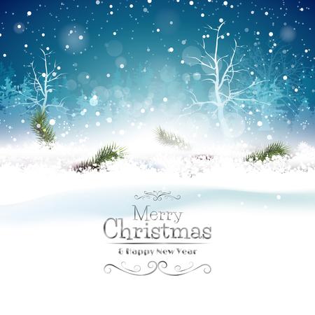 Kerst blauwe wenskaart met takken in de sneeuw