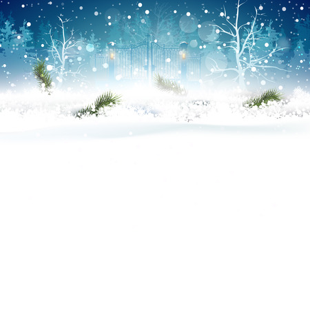 Christmas blue greeting card with branches in the snow and place for your text