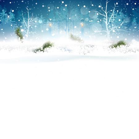 Tarjeta de felicitación azul con sucursales en la nieve y el lugar de su texto