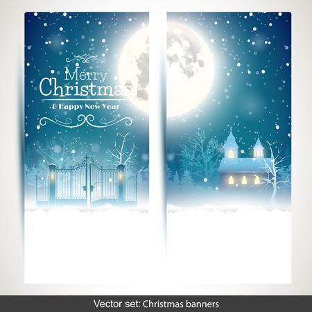 felicitaciones navide�as: Vector conjunto de dos pancartas verticales de Navidad wirh paisaje nevado
