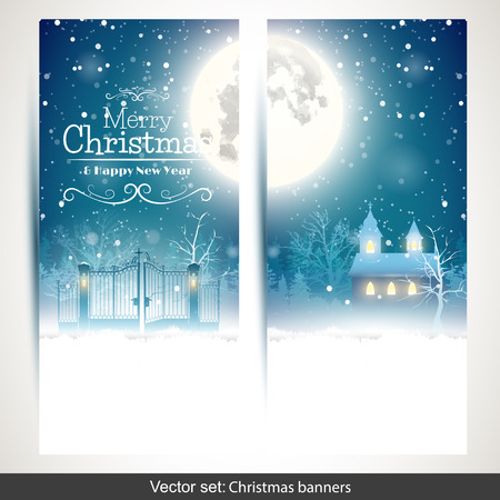 greeting: Vector set of two vertical Christmas banners wirh snowy landscape