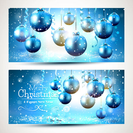 horizontal: Blue Christmas banners with snow-covered decorations