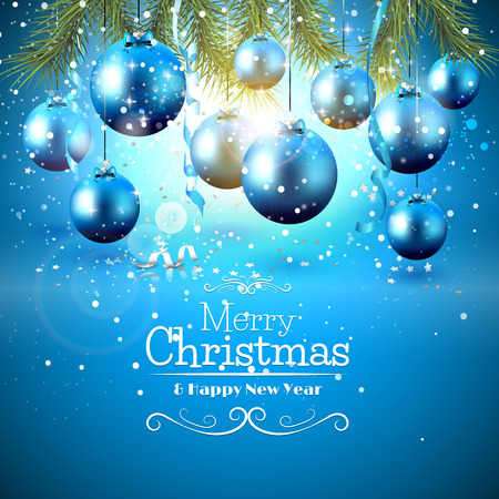blue christmas background: Blue baubles and branches on frozen background - Christmas greeting card
