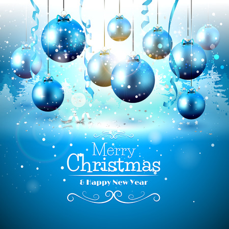 Blue baubles on frozen background - Christmas greeting card