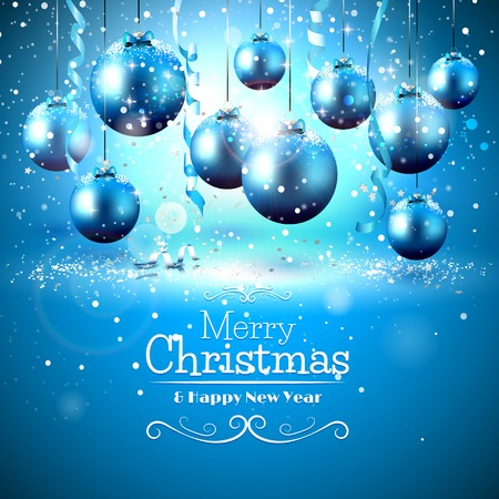 Luxury blue Christmas greeting card with snow covered baubles Vectores