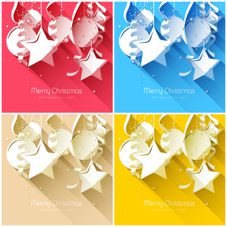 Vector set of modern Christmas greeting cards
