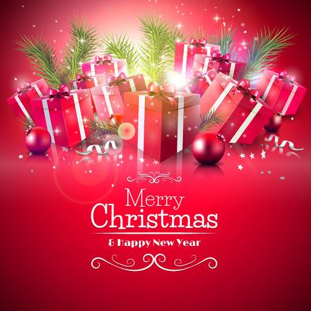 present: Luxus-Weihnachtsgru�karte mit Geschenk-Boxen und Niederlassungen