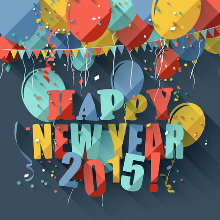 new year: Happy New Year 2015 - modern greeting card in flat design style Illustration