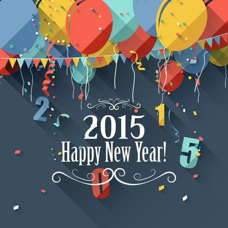 nouvel an: Happy New Year 2015 - carte de voeux de style moderne de design plat