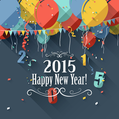 'new year': Happy New Year 2015 - modern greeting card in flat design style Illustration