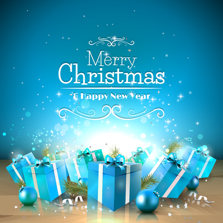 Christmas greeting card with blue gift boxes