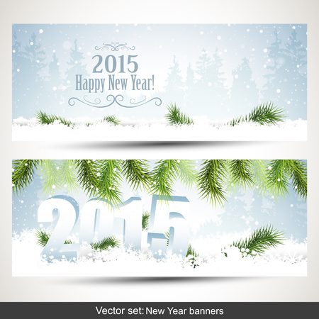 sylvester: Vector set of two Christmas banners