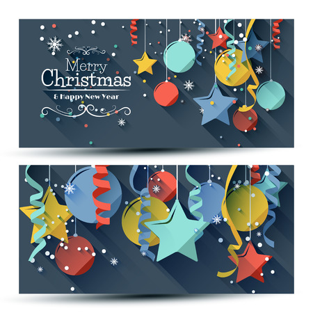 horizontal: Vector set of two christmas banners with colorful paper decorations on blue background