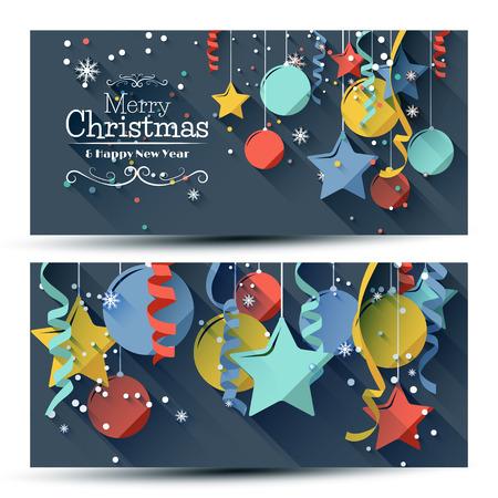 Vector set van twee kerst banners met kleurrijke papieren decoraties op blauwe achtergrond