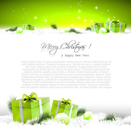 Green Christmas background with gift boxes and branches in snow and with place for text