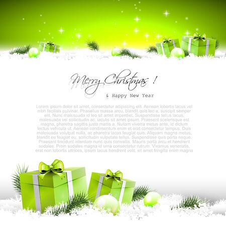 Groene Kerst achtergrond met geschenkdozen en takken in de sneeuw en met plaats voor tekst
