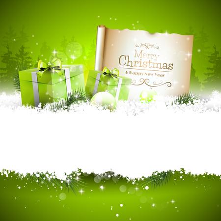 Fond de Noël avec des coffrets cadeaux verts et de vieux papiers dans la neige et avec un espace vide pour votre texte