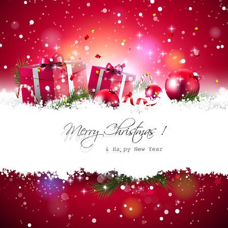 card background: Sfondo Natale con scatole regalo rosso e palline sulla neve
