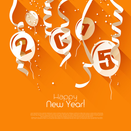 bonne ann�e: Happy New Year 2015 - carte de voeux de style moderne de design plat