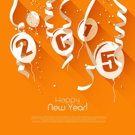 new Year: Happy New Year 2015 - moderno biglietto di auguri in stile design piatto