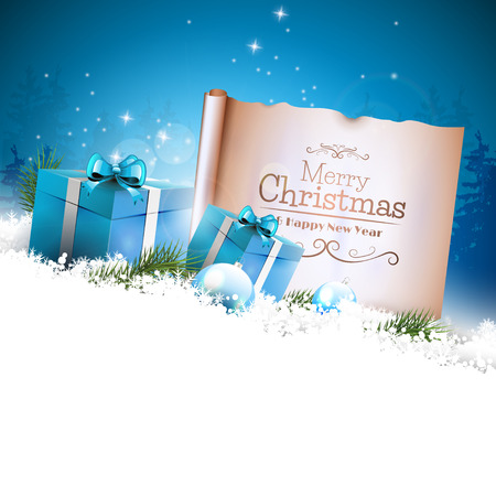 Christmas background with blue gift boxes and old paper in the snow and with empty space for your text 向量圖像